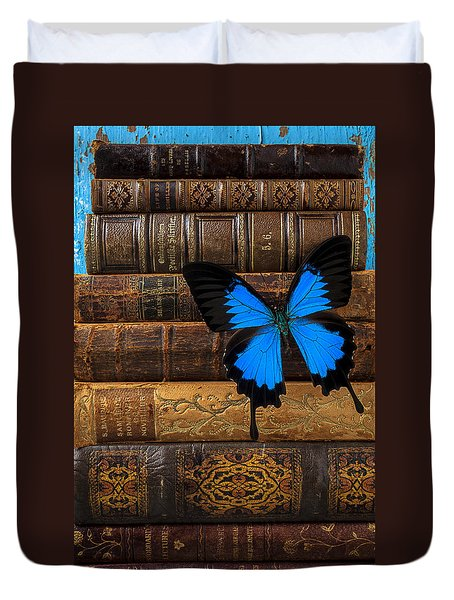 Butterfly And Old Books Duvet Cover by Garry Gay