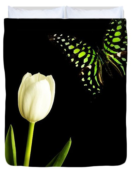 Butterfly And Tulip Duvet Cover by Edward Fielding