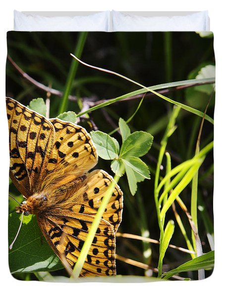 Butterfly At Signal Mountain Duvet Cover by Belinda Greb