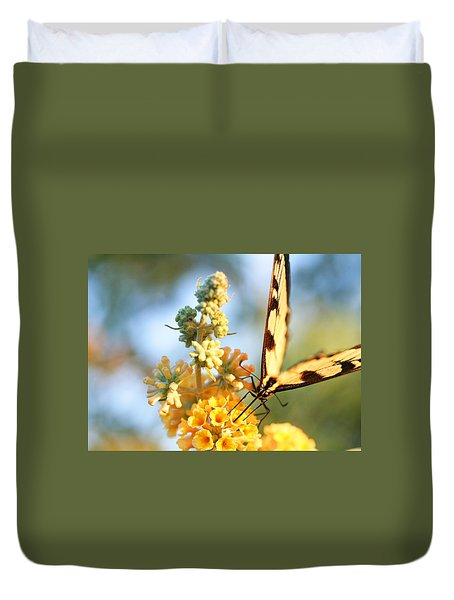 Duvet Cover featuring the photograph Butterfly At Work by Trina  Ansel