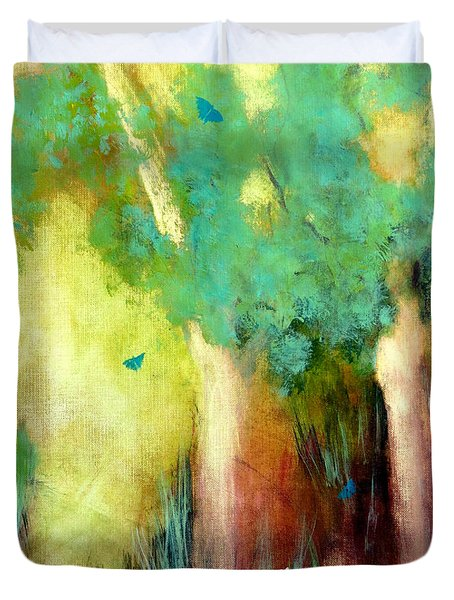 Duvet Cover featuring the painting Butterfly Days by Katie Black