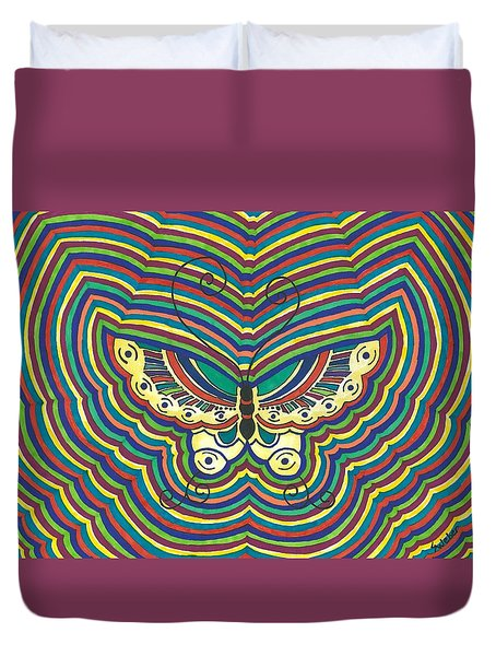 Duvet Cover featuring the painting Butterfly Flutter by Susie Weber