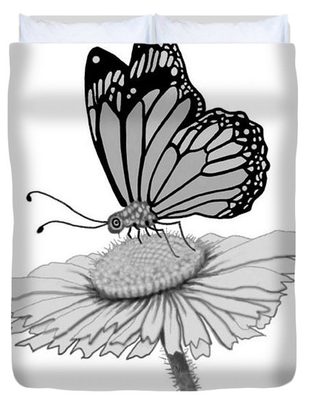 Duvet Cover featuring the digital art Butterfly Friends by Carol Jacobs