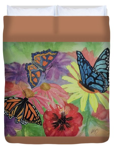 Duvet Cover featuring the painting Butterfly Garden by Ellen Levinson
