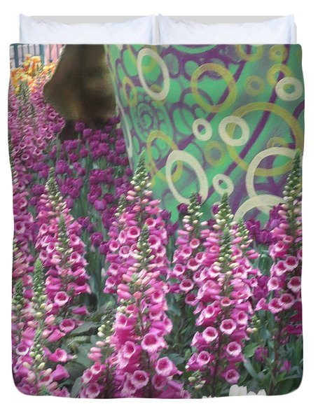 Butterfly Garden Purple White Flowers Painted Wall Duvet Cover by Navin Joshi