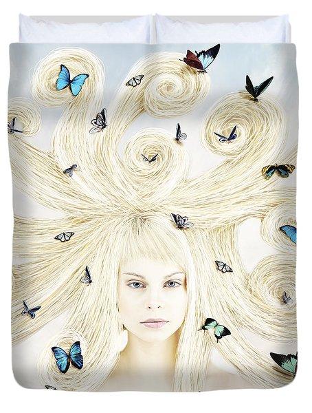 Butterfly Girl Duvet Cover by Linda Lees