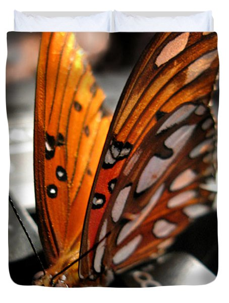 Duvet Cover featuring the photograph Butterfly Home At 7 by Jennie Breeze