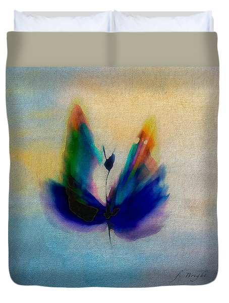 Duvet Cover featuring the digital art Butterfly In Color by Frank Bright