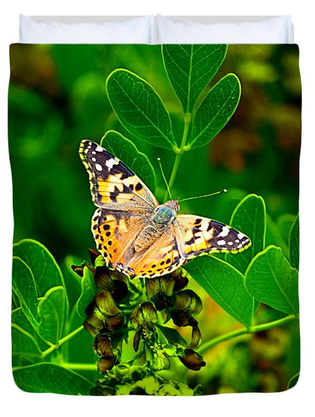 Duvet Cover featuring the photograph Butterfly In Paradise by Gunter Nezhoda