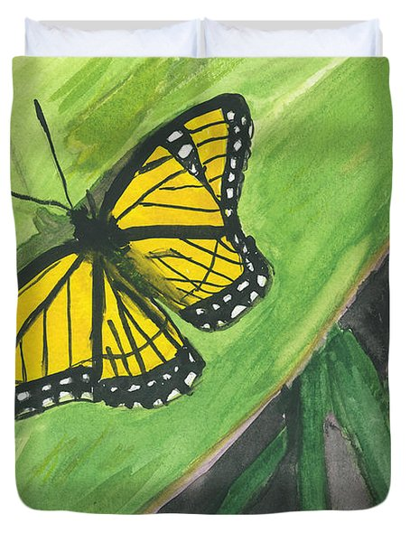Duvet Cover featuring the painting Butterfly In Vermont Corn Field by Donna Walsh