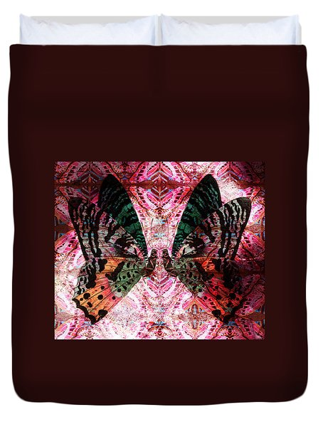 Duvet Cover featuring the digital art Butterfly Kaleidoscope by Kyle Hanson
