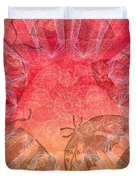 Duvet Cover featuring the digital art Butterfly Letterpress Watercolor by Kyle Hanson