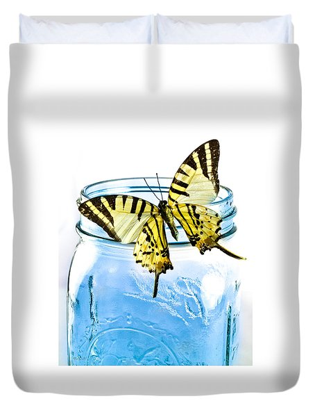 Butterfly On A Blue Jar Duvet Cover