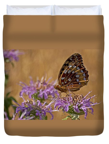 Butterfly On Bee Balm Duvet Cover