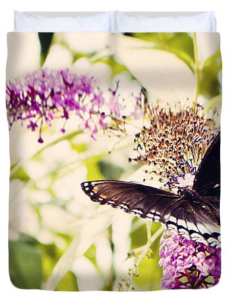 Butterfly On Butterfly Bush Duvet Cover