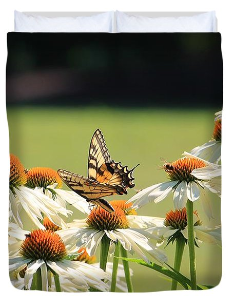 Butterfly On Echinacea Duvet Cover