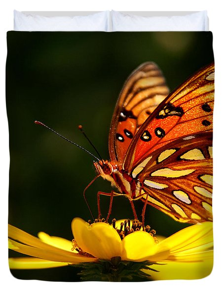 Butterfly On Flower Duvet Cover by Joan McCool
