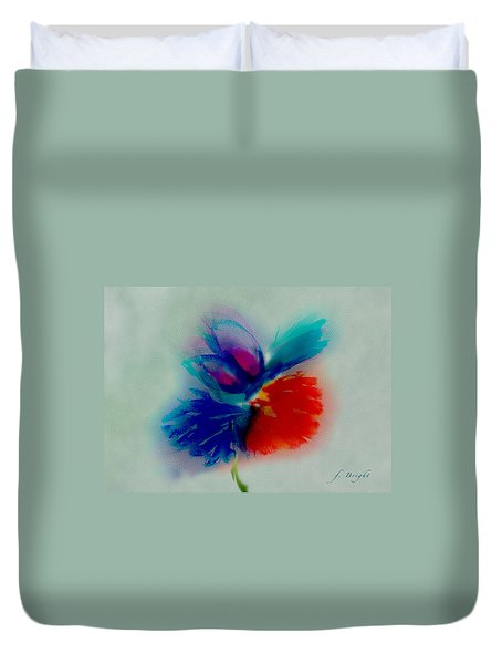 Duvet Cover featuring the digital art Butterfly On Flower Mixed Media by Frank Bright