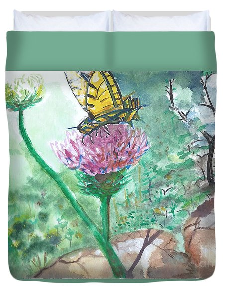 Butterfly On Flower  Duvet Cover