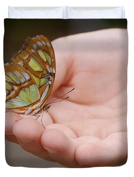 Duvet Cover featuring the photograph Butterfly On Hand by Leticia Latocki