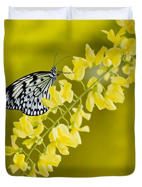 Butterfly On Laburnum Duvet Cover