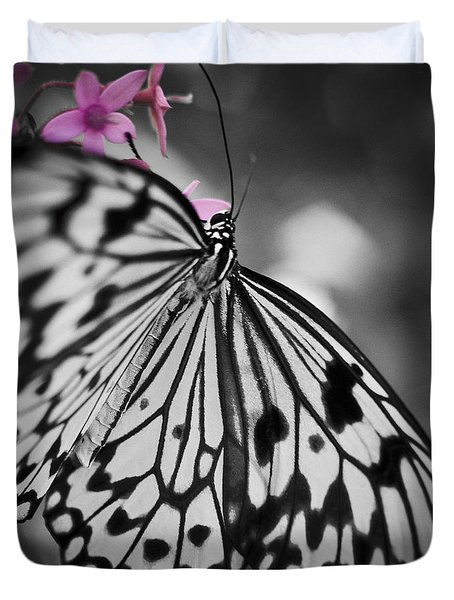 Butterfly On Pink Flowers Duvet Cover by Bradley R Youngberg