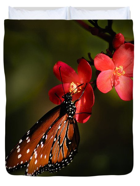 Butterfly On Red Blossom Duvet Cover