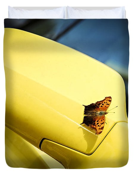 Butterfly On Sports Car Mirror Duvet Cover by Elena Elisseeva