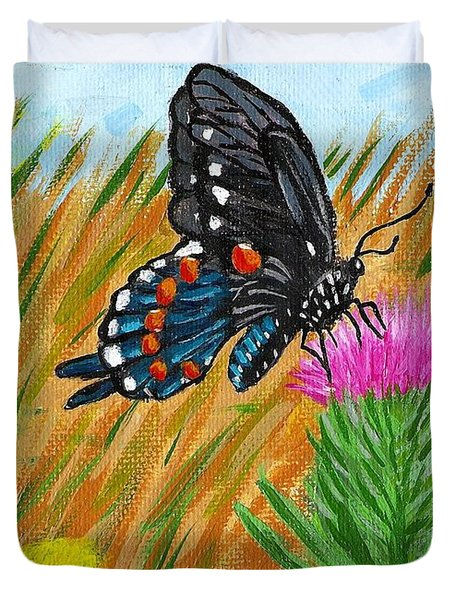 Butterfly On Thistle Duvet Cover by Vicki Maheu