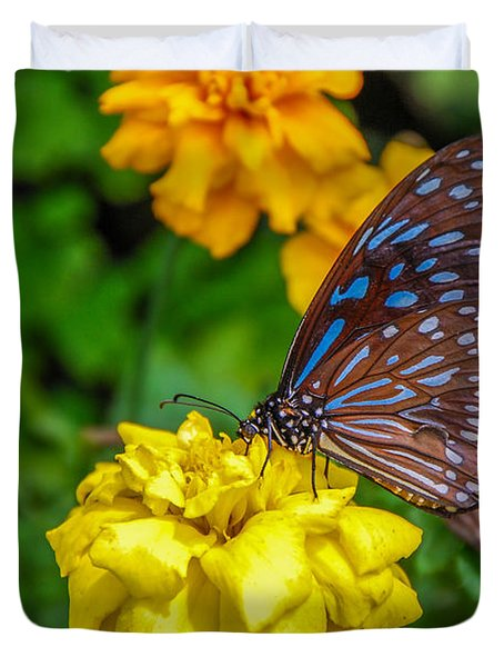 Butterfly On Yellow Marigold Duvet Cover