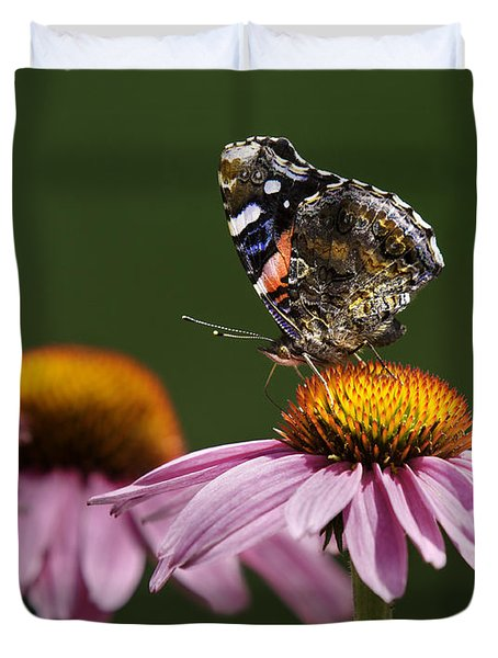 Duvet Cover featuring the photograph Butterfly Red Admiral On Echinacea by Peter v Quenter