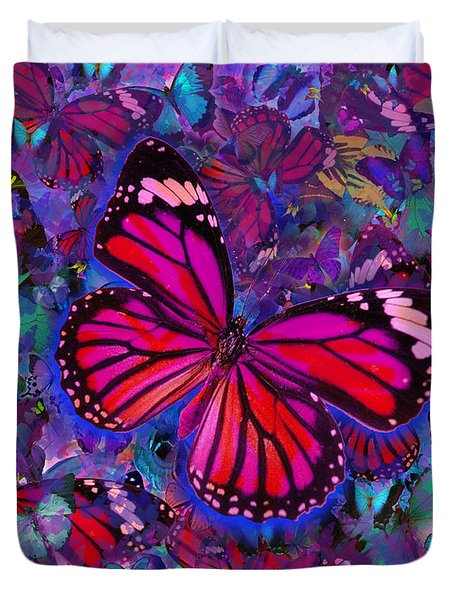 Butterfly Red Explosion Duvet Cover by Alixandra Mullins