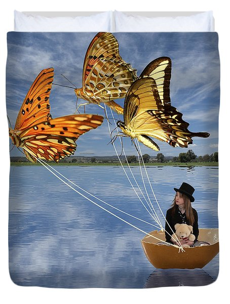 Butterfly Sailing Duvet Cover by Linda Lees
