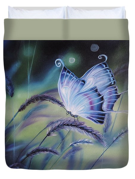 Duvet Cover featuring the painting Butterfly Series #3 by Dianna Lewis