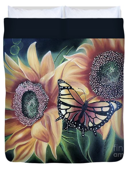 Duvet Cover featuring the painting Butterfly Series 5 by Dianna Lewis