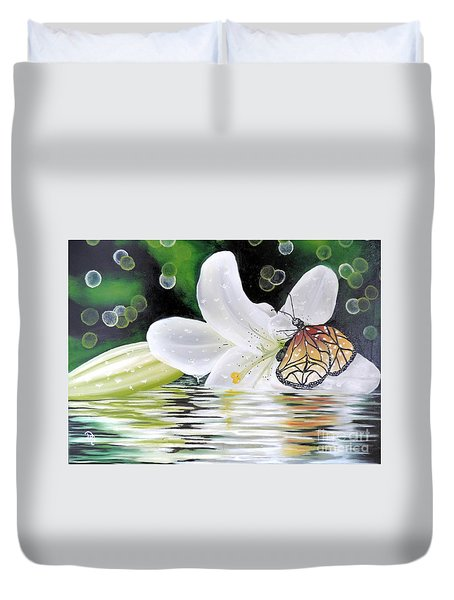 Duvet Cover featuring the painting Butterfly Series Seven by Dianna Lewis