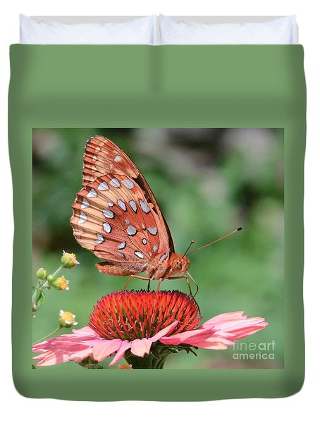 Butterfly Sipping A Coneflower Duvet Cover