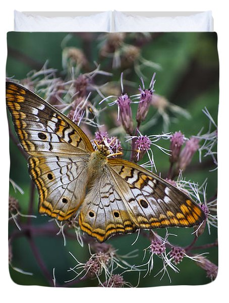 Duvet Cover featuring the photograph Butterfly Soft Landing by Thomas Woolworth