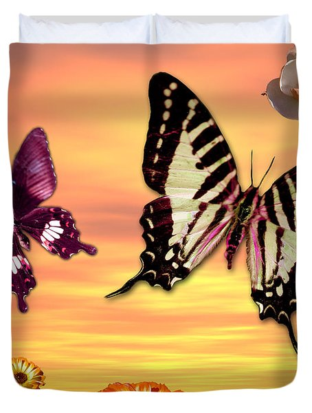 Butterfly Sunset Duvet Cover by Alixandra Mullins