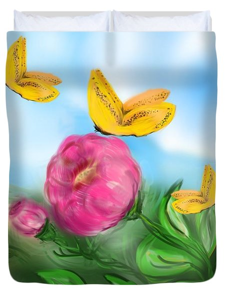 Duvet Cover featuring the digital art Butterfly Triplets by Christine Fournier