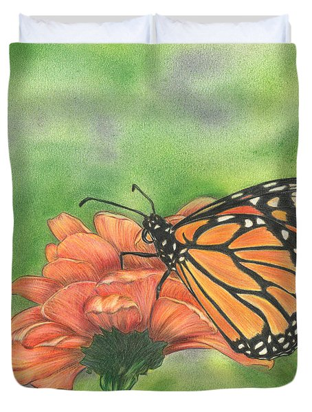 Duvet Cover featuring the drawing Butterfly by Troy Levesque