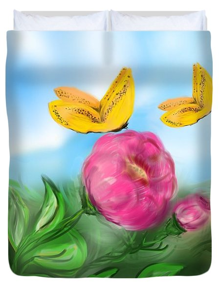 Duvet Cover featuring the digital art Butterfly Twins by Christine Fournier