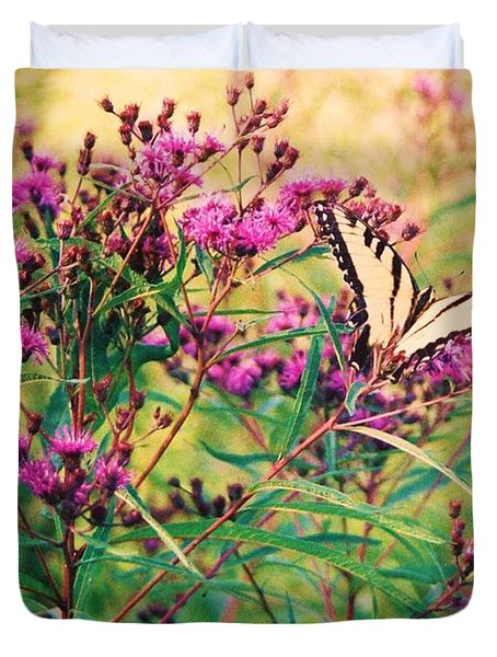 Duvet Cover featuring the painting Butterfly Wildflower by Eric  Schiabor