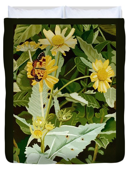 Butterfly Yellow  Duvet Cover by Tanya Provines