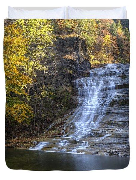Buttermilk Falls Autumn Duvet Cover by Colin D Young