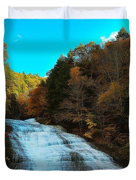 Duvet Cover featuring the photograph Buttermilk Falls Ithaca New York by Paul Ge