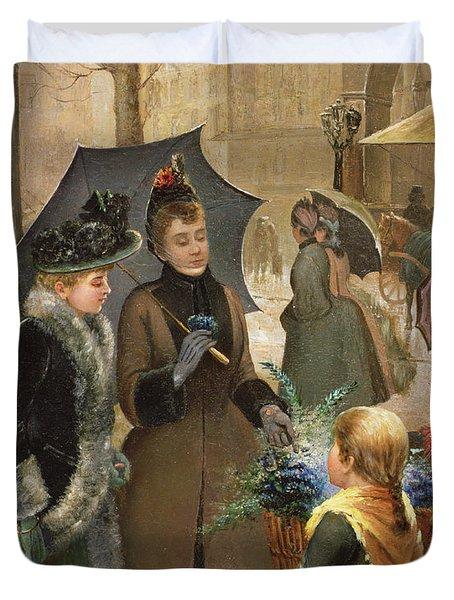 Buying Flowers, 19th Century Duvet Cover