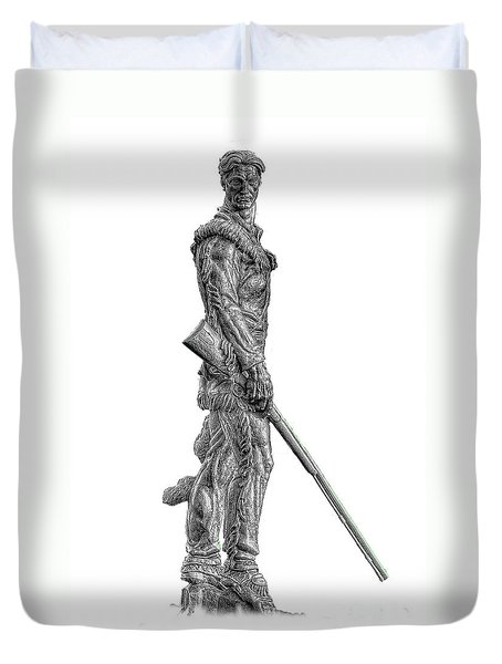 Bw Of Mountaineer Statue Duvet Cover