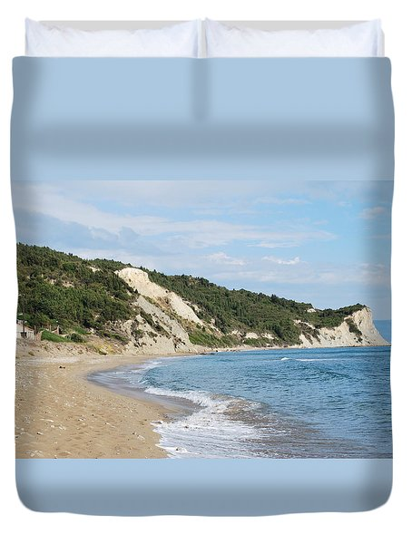 Duvet Cover featuring the photograph By The Beach by George Katechis