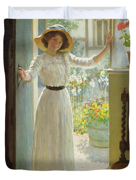 By The Cottage Door Duvet Cover by William Henry Margetson